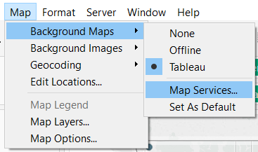 Tableau Background Maps Map Services