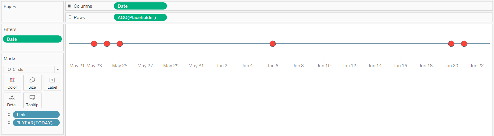 Tableau Timeline with Today on Detail Marks Card