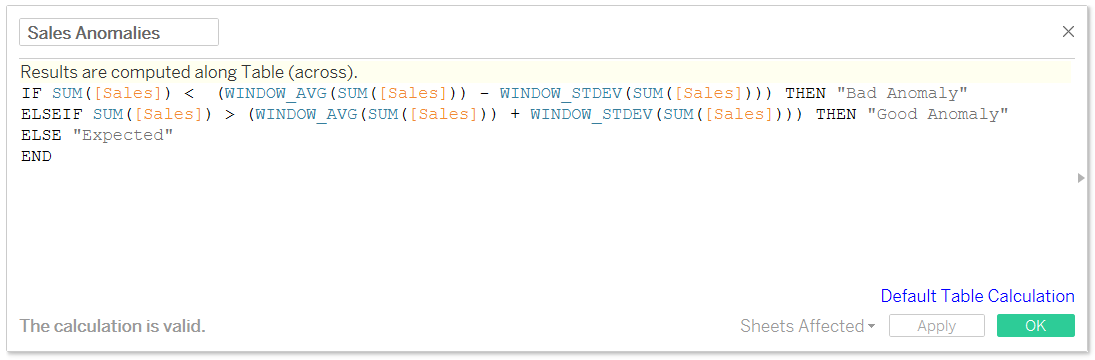 Tableau Anomaly Detection Formula in a Calculated Field