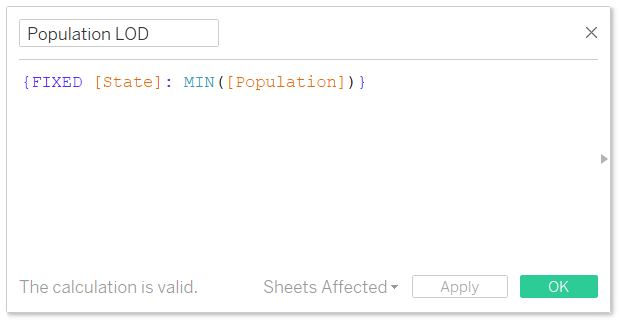 Tableau Population by State FIXED Level of Detail Calculation