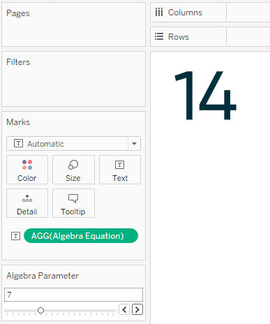 Tableau Algebra Equation Calculated Field Multiplied by Parameter