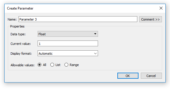 Tableau Create a New Parameter Dialog Box