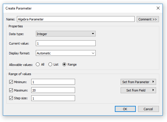 Tableau Integer Parameter with Range of Allowable Values