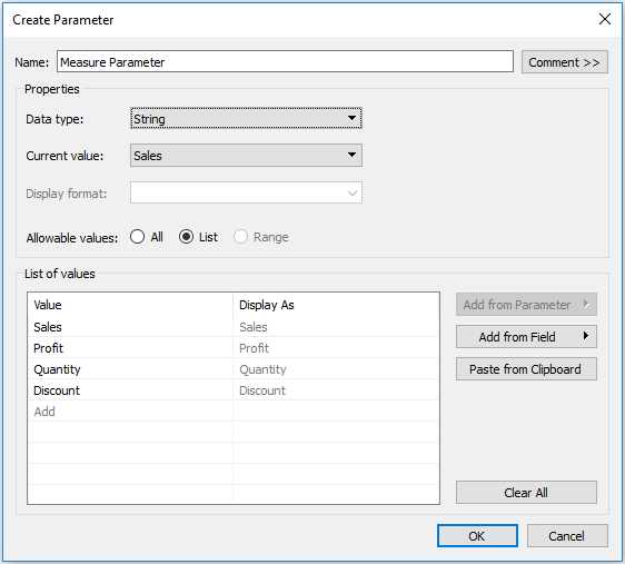 Tableau Measure String Parameter