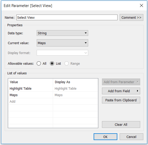 Tableau Select View String Parameter Chart Choices