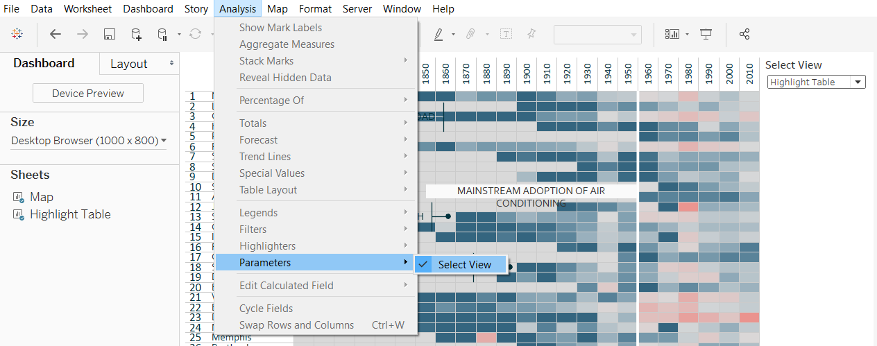 Tableau Show Parameter Control for Select View Choice