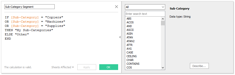 Tableau String Calculated Field
