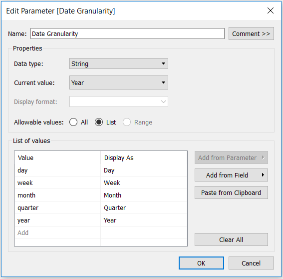 Tableau String Parameter with Date Part Options Lowercase Values