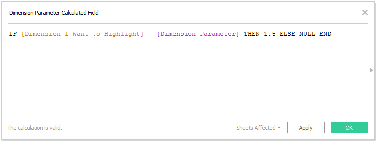 Tableau Calculated Field for Dimension Highlighter
