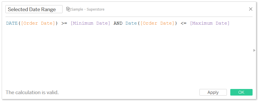 Selected Date Range Tableau Boolean Calculated Field
