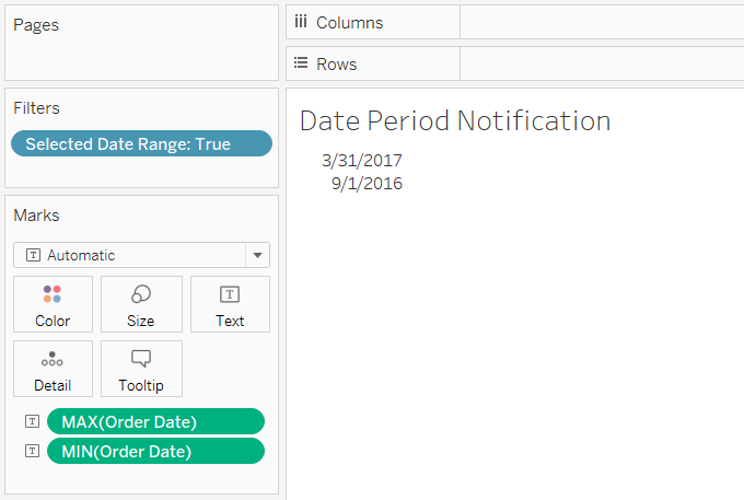Tableau Dashboard with Boolean Filter MIN Date and MAX Date