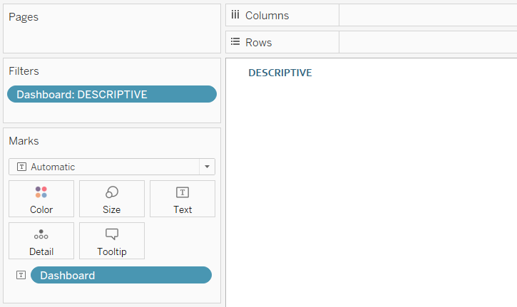 Tableau Descriptive Button Active