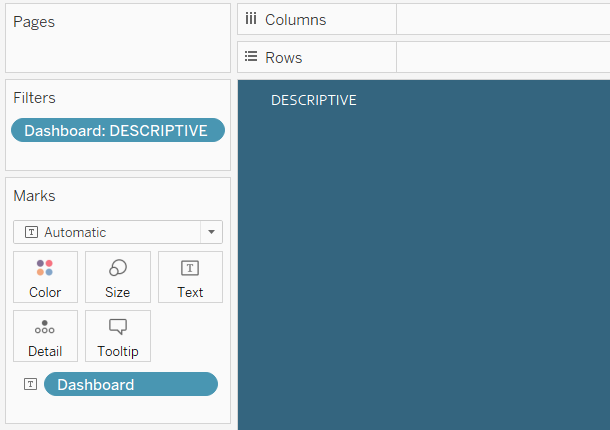 Tableau Descriptive Button Inactive