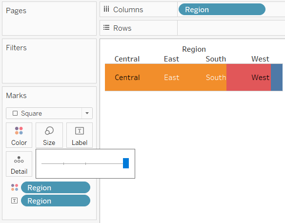 Tableau Highlight Table with Large Size Square Marks