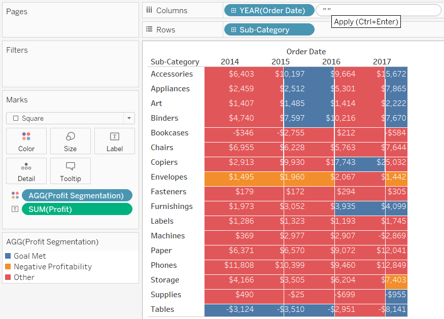 Adding a Blank Dimension to the Columns Shelf in Tableau