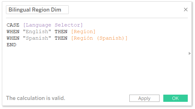 Bilingual Region Dimension Calculated Field in Tableau