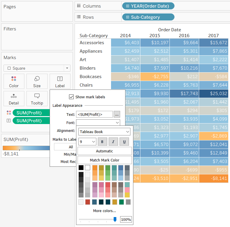 Changing the Font Options on the Label Marks Card in Tableau