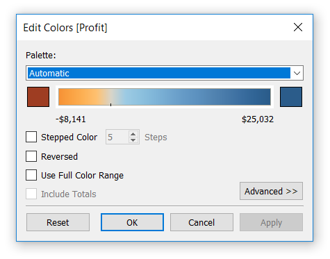 Edit Colors Dialog Box in Tableau