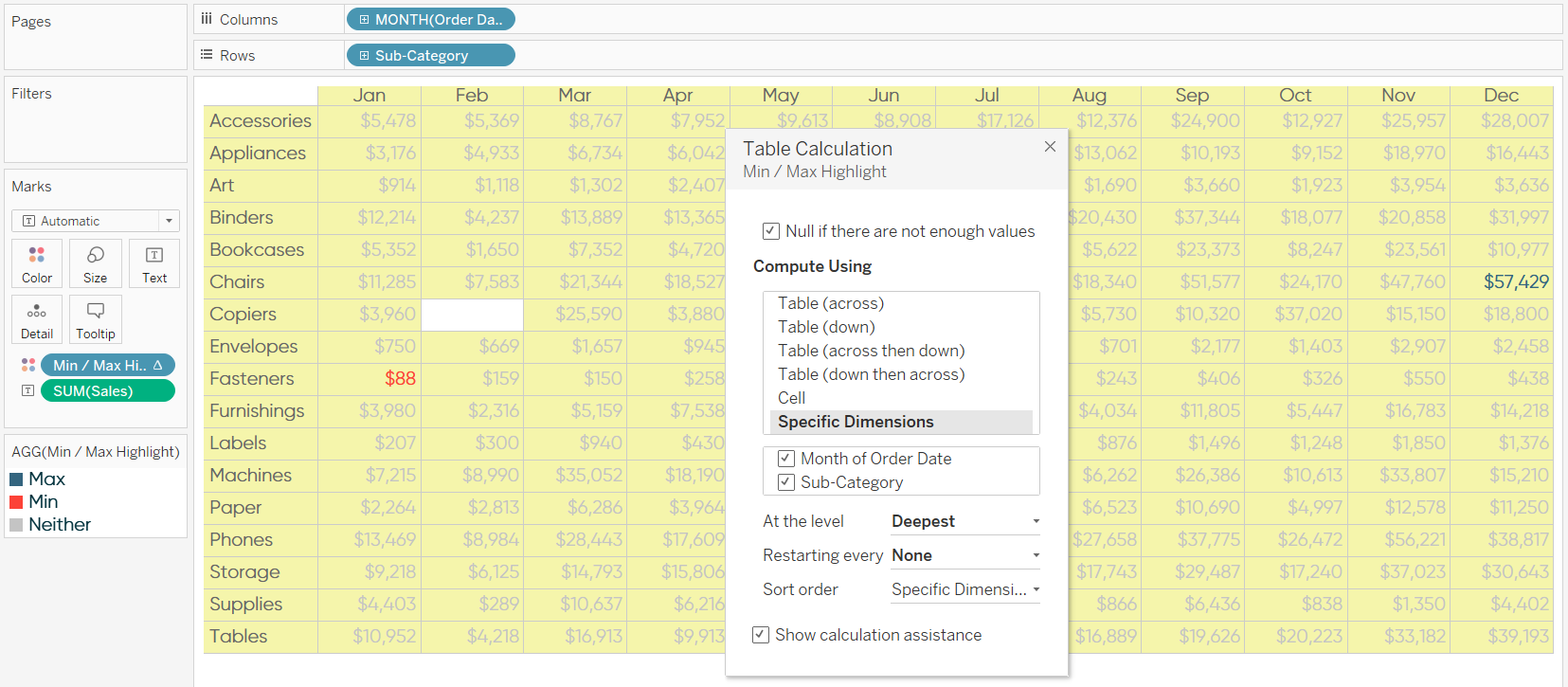 Editing the Addressing of a Tableau Table Calculation