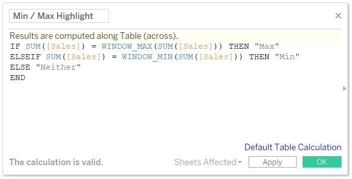 Min Max Highlight Calculated Field in Tableau