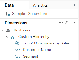 Creating a Custom Hierarchy with Sets in Tableau