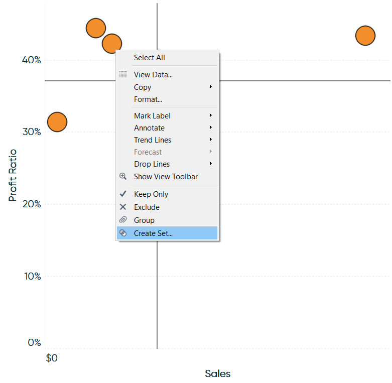Creating a Set of a Segment on a Tableau Scatter Plot