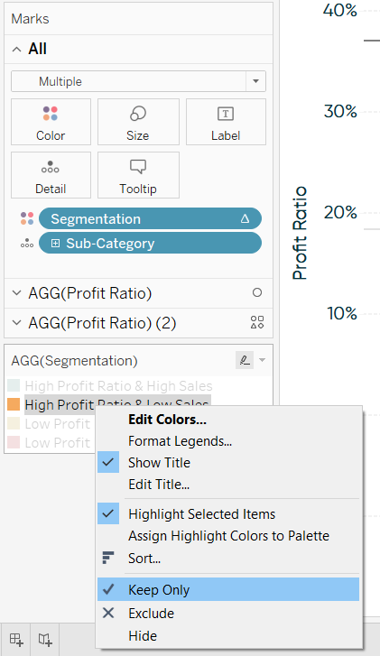 Isolating a Segment on a Tableau Color Legend