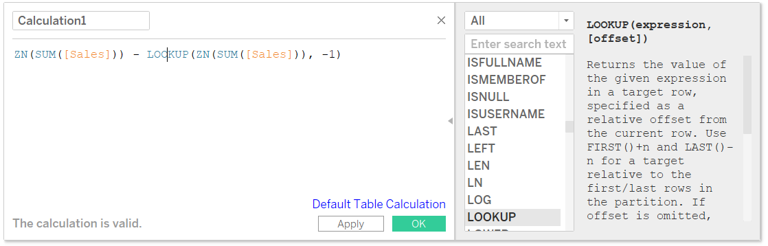 Looking Up a Function Definition in a Tableau Calculated Field