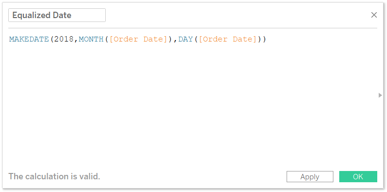 Equalized Date Calculated Field in Tableau