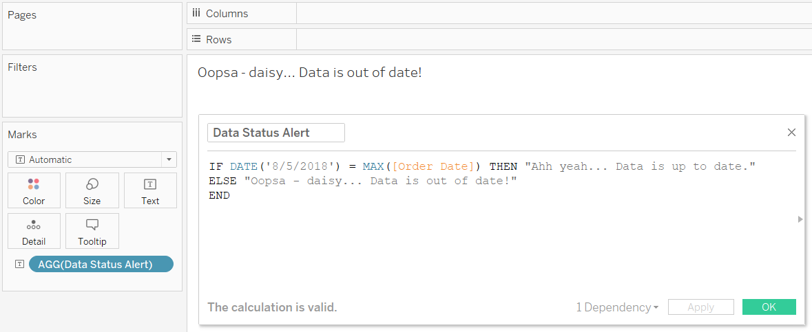 Data Status Alert on Tableau Text Marks Card Out of Date