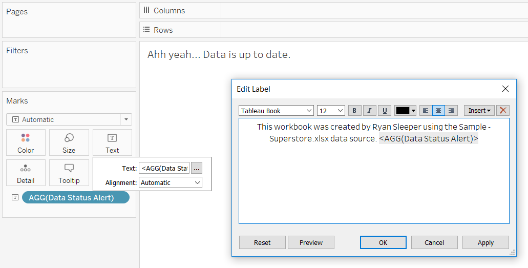 Modifying the Text of a Data Status Alert in Tableau