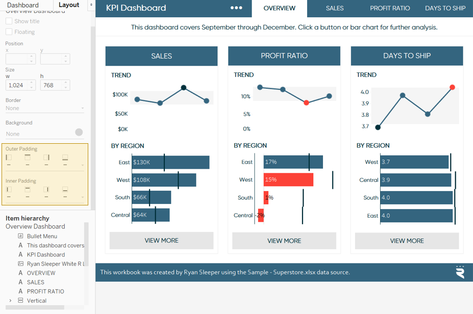 Outer Padding and Inner Padding on Tableau Dashboard Layout Pane