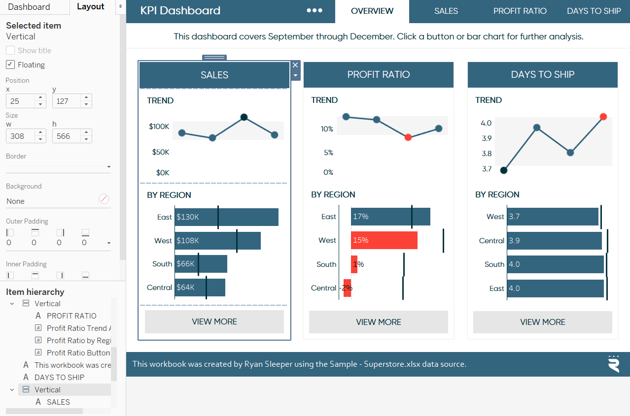 Using Tableau Layout Pane to Change Dashboard Object Dimensions