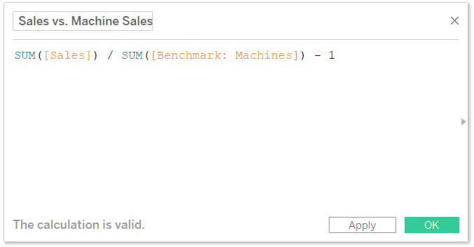 Sales Compared to Benchmark Sales Calculated Field in Tableau