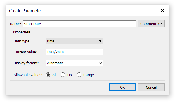 Creating a Start Date Parameter in Tableau