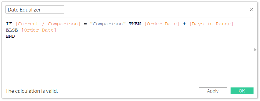 Date Equalizer Calculated Field in Tableau