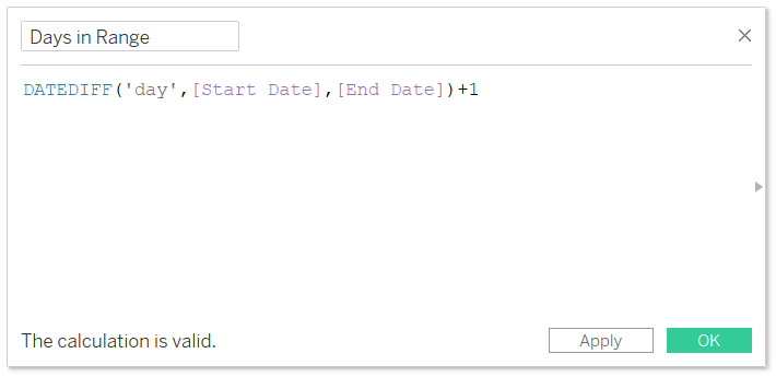 Days in Range Calculated Field in Tableau