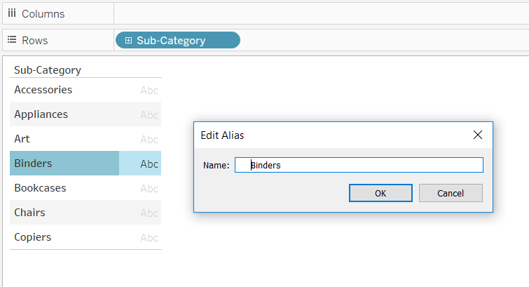 Editing the Alias of a Dimension Member in Tableau