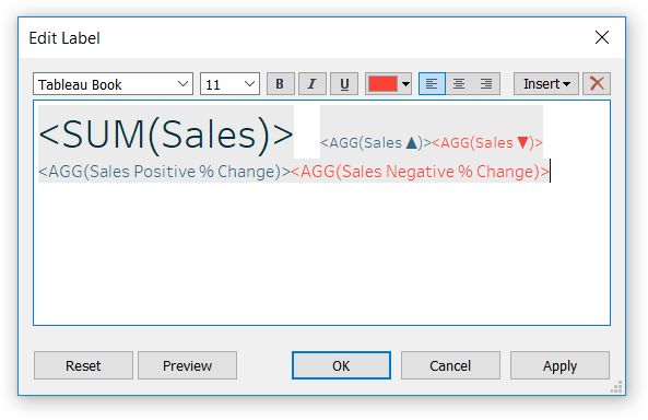 Formatting Tableau Callout Number with Conditionally Formatted Text