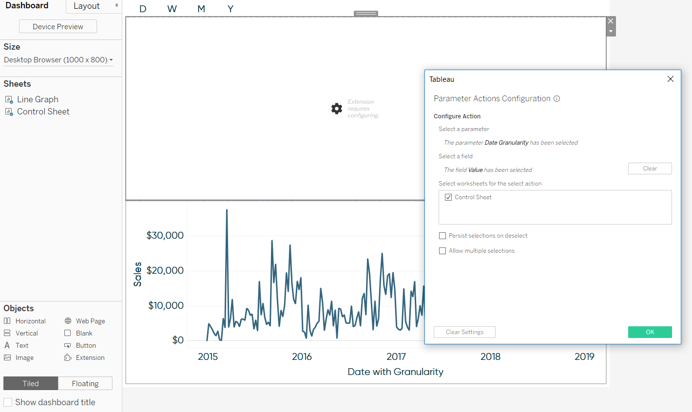 Configuring the Parameter Actions Extension in Tableau