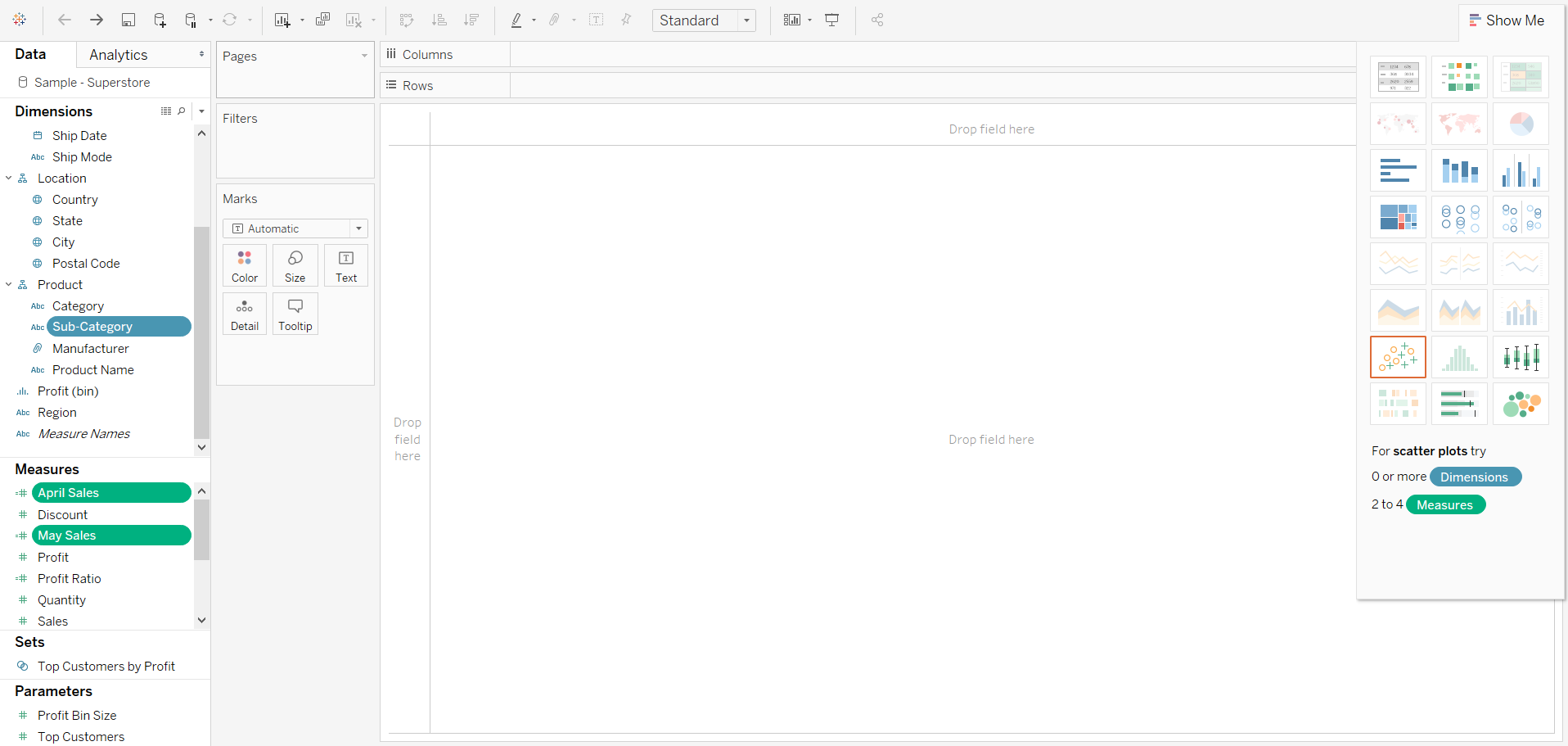 Creating a Bullet Graph with Tableau's Show Me Menu