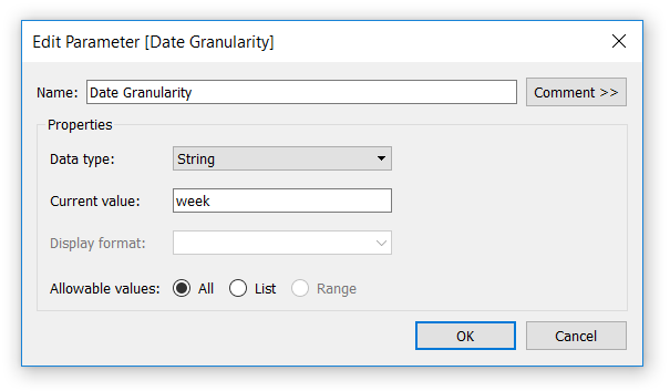 Date Granularity Parameter with Allowable Values of All in Tableau