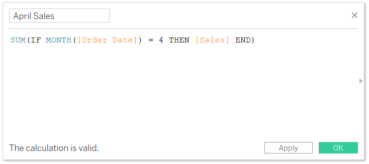 Tableau Calculation that Isolates April Sales