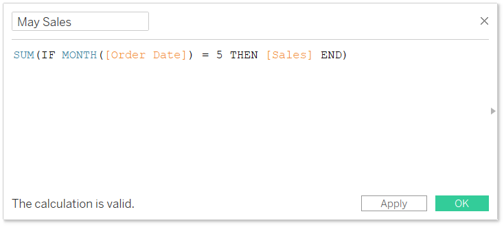 Tableau Calculation that Isolates May Sales