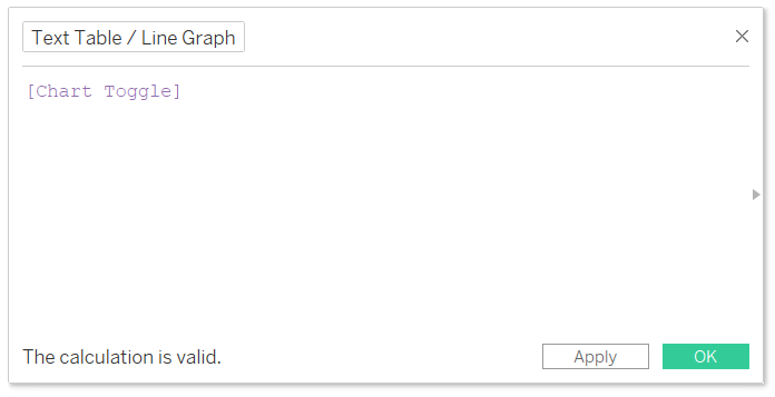 Text Table or Line Graph Calculated Field in Tableau